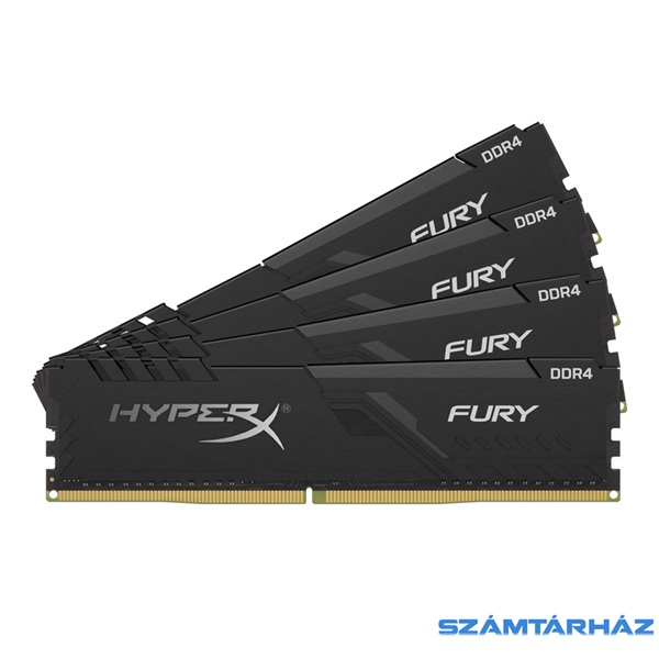 Kingston 64GB/3200MHz DDR-4 HyperX FURY fekete (Kit 4db 16GB) (HX432C16FB3K4/64) memória